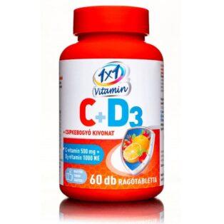 1x1 Vitamin C+D C-vitamin 500mg + D3-vitamin 1000NE rágótabletta - 60db
