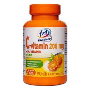 1x1 Vitamin C+D+Cink C-vitamin 200mg + D3-vitamin 500NE narancsos rágótabletta - 90db