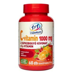 1x1 Vitamin C+D C-vitamin 1000mg D3-vitamin 500NE + csipkebogyó rágótabletta - 60db