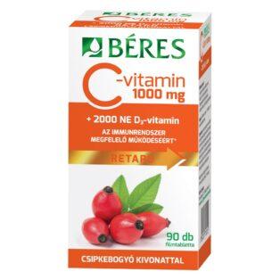 Béres C+D Retard C-vitamin 1000mg + D3-vitamin 2000NE csipkebogyó kivonattal - 90db