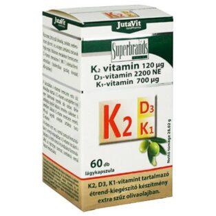 JutaVit K2+D3+K1-vitamin lágyzselatin kapszula - 60 db