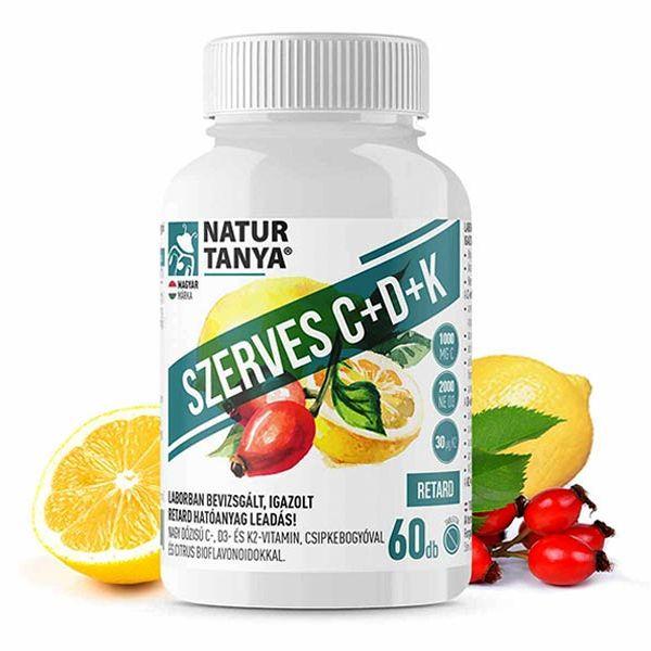 Natur Tanya Szerves C+D+K2 C-vitamin 1000mg + D3-vitamin 2000NE tabletta – 60db