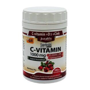 JutaVit C+D+Cink C-vitamin 1000mg + D3-vitamin 400NE tabletta - 100 db
